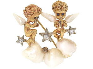 Cherubs with Freshwater Pearl Wings on a Freshwater Pearl Cloud