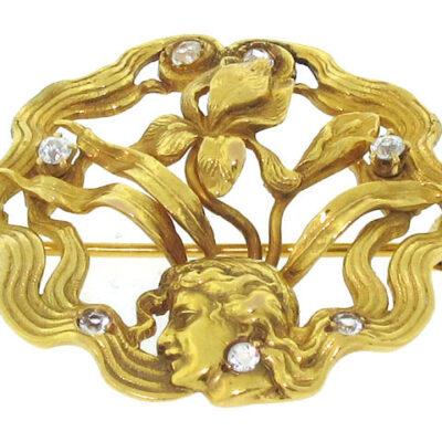 Art Nouveau Diamond Brooch in 14K Yellow Gold
