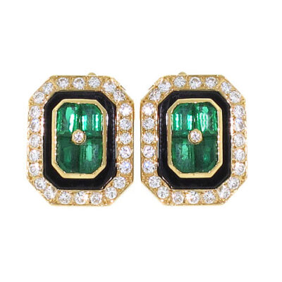 Fred of Paris Emerald and Diamond Earrings