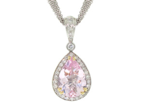 Charles Krypell Morganite and Diamond Pendant