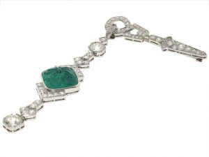 Art Deco Carved Emerald and Diamond brooch