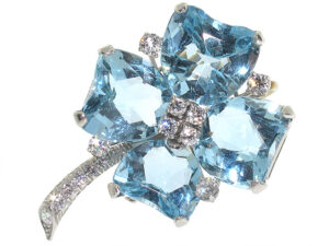 Oscar Heyman Aquamarine and Diamond Brooch