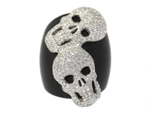 Diamond and Ebony Skull Ring