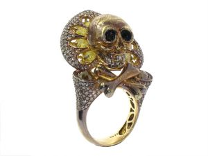 Bochic Colored Diamond Skull Ring