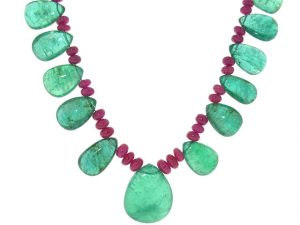 Emerald and Ruby Bead Necklace