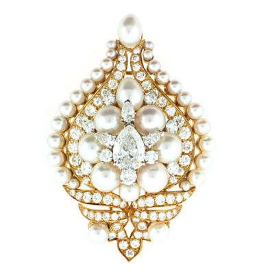 Bvlgari Pearl and Diamond Brooch in 18K