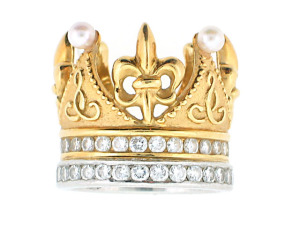 Cynthia Bach Diamond and Pearl Crown Ring