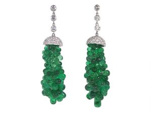 Emerald and Diamond Earrings in Platinum