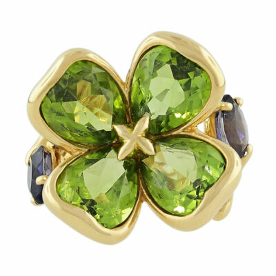 Chanel Peridot and Tanzanite Clover Ring