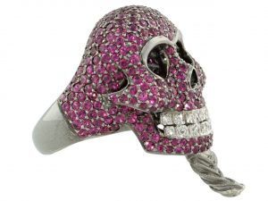 Lydia Courteille Ruby Skull Ring