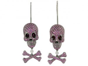 Lydia Courteille Ruby Skull and Crossbones Earrings