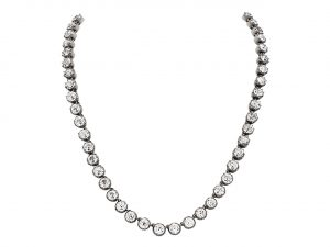 Antique Georgian Foiled Black Dot Paste Rivière Necklace in Silver and 14K
