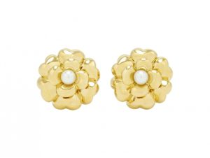 Chanel Camelia Pearl Earrings in 18k gold on sale at Beladora.com