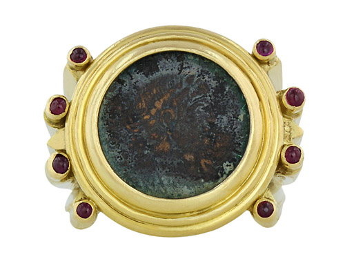 Elizabeth Gage Ancient Coin Ruby Gold Ring 506321-500