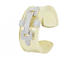 Hammerman Brothers Diamond Bangle Bracelet in 18K Gold and Platinum