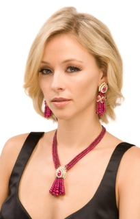 Ruby and Diamond Tassel Earrings and Necklace