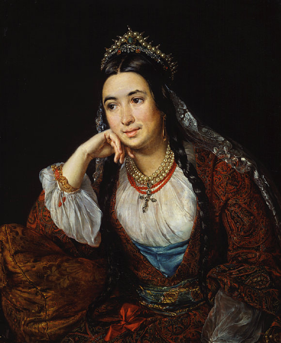 Portrait of Mid-19th Century Woman in Coral Jewelry