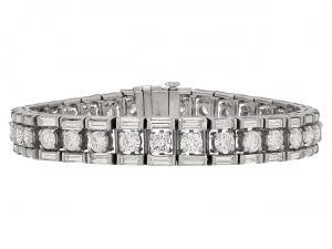 Mid-Century Diamond Line Bracelet in Platinum
