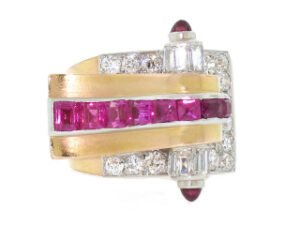 Retro Ruby and Diamond Scroll Ring