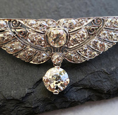 Wing Diamond Brooch in Platinum and 14K White Gold