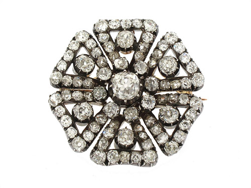 Victorian Diamond Brooch Silver over Gold 505360-500