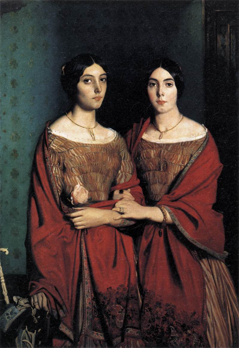 Portrait of Victorian Sisters with Hair Bracelet