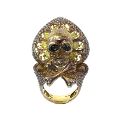 Bochic Diamond Skull Ring