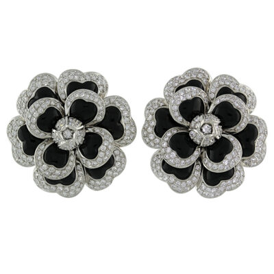 chanel diamond camellia earrings