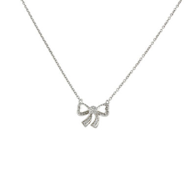 poiray diamond bow necklace