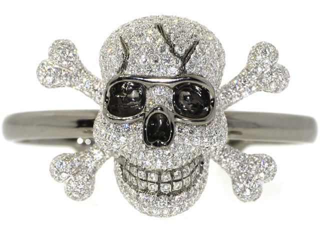 Sue Gragg Skull and Crossbones Cuff Bracelet in 18K