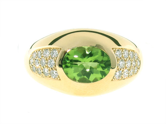 Mauboussin Peridot and Diamond Ring in 18K