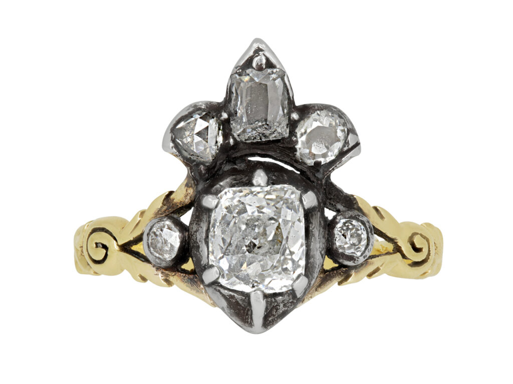Antique Georgian Crowned Heart Diamond Ring in 14K Gold
