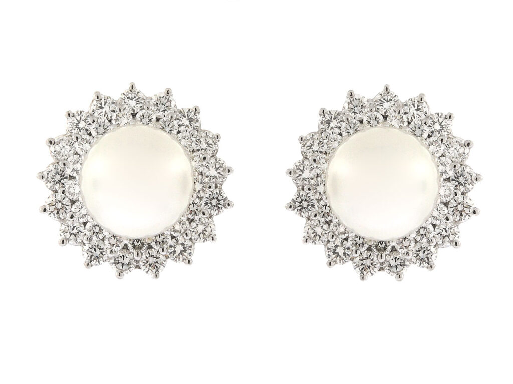 South Sea Pearl and Diamond Earrings in 18K
