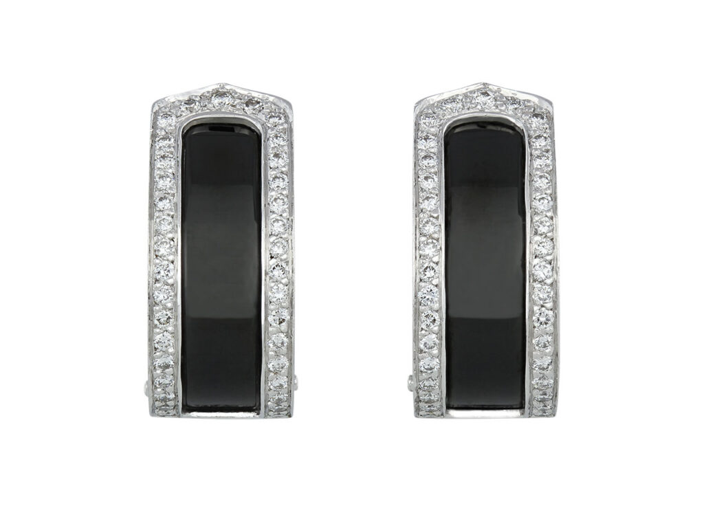 Cartier 'Double C' Black Ceramic and Diamond Earrings in 18K