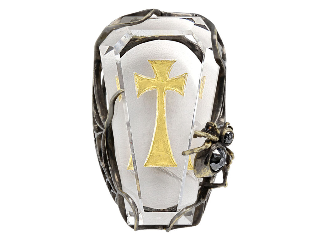 Lydia Courteille 'Coffin' Crystal Ring in 18K Gold