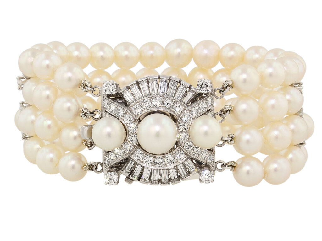 Four Strand Cultured Pearl and Diamond Bracelet in Platinum