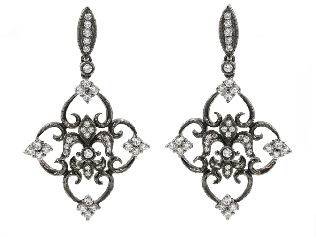 'Fleur-de-lis' Diamond Earrings in Blackened 18K Gold