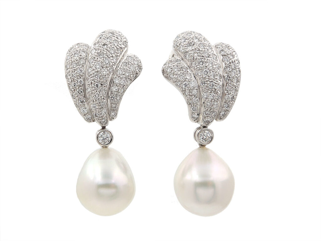 Baroque Pearl and Diamond Earrings in 18K White Gold
