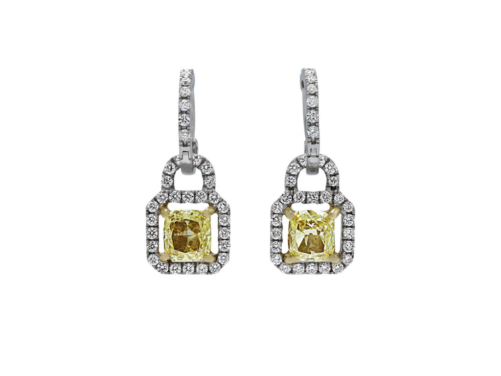 Yellow and White Diamond Earrings in 14K White Gold