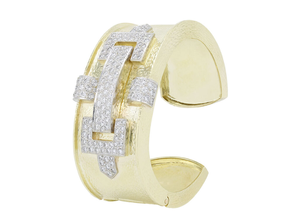 Hammerman Brothers Diamond Cuff Bracelet in 18K Gold and Platinum