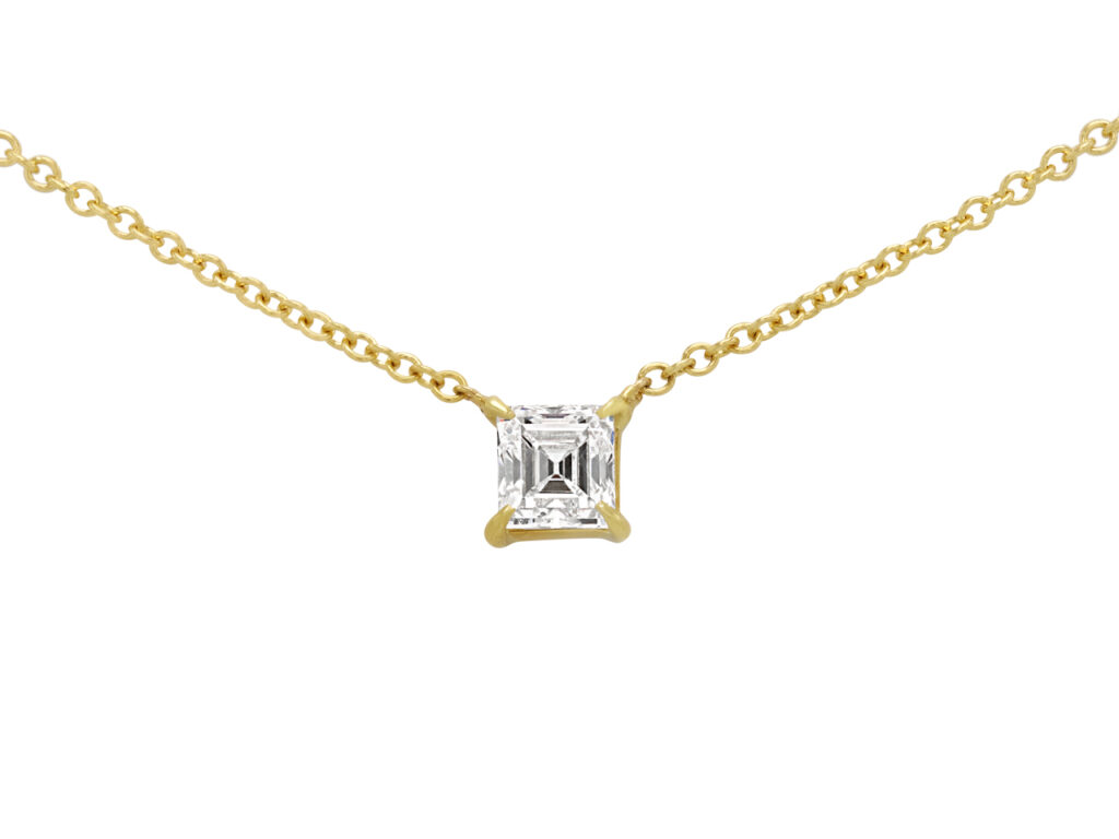 Beladora 'Bespoke' Rectangular Step-cut Diamond Pendant in 18K Yellow Gold
